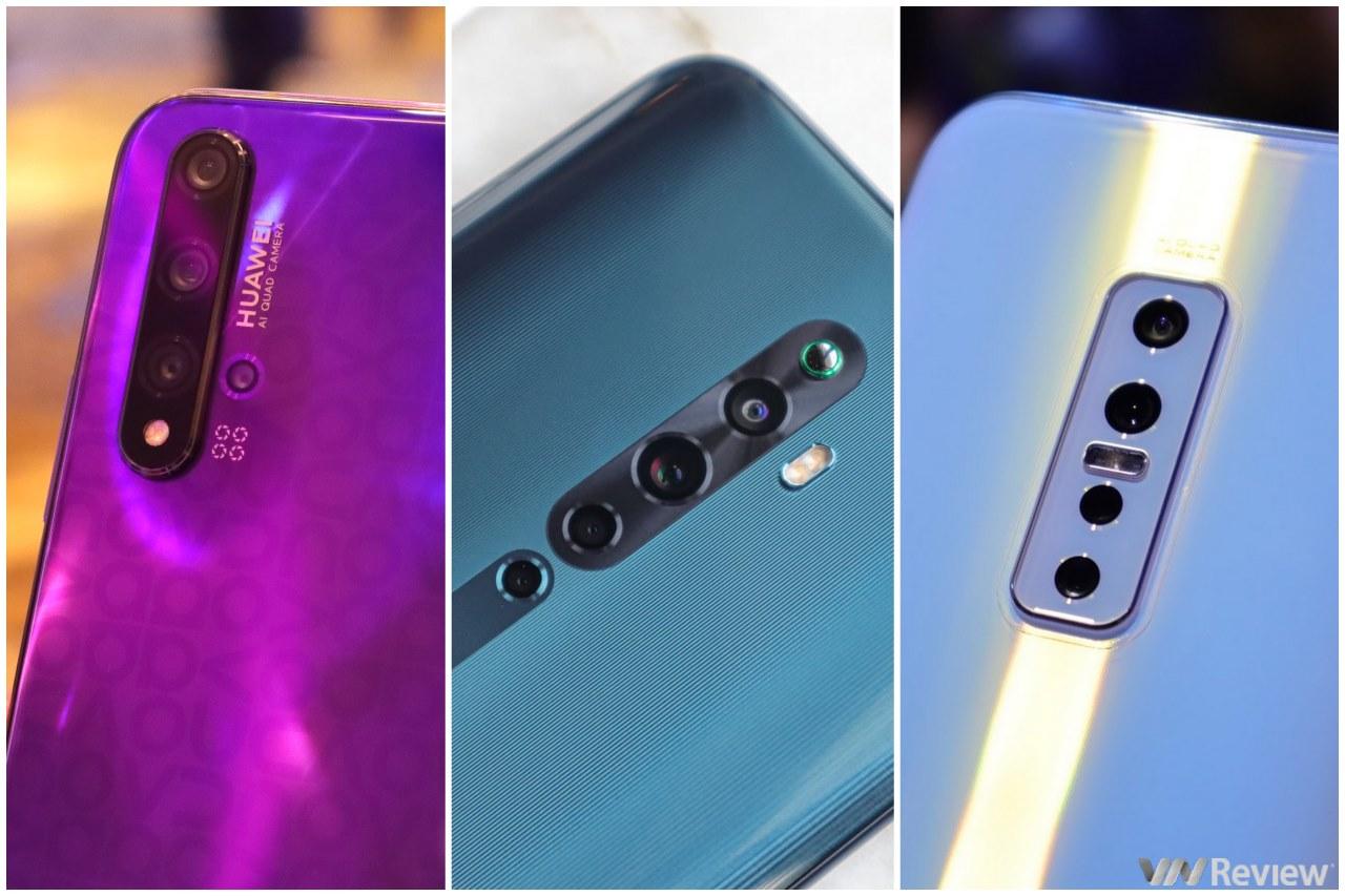 """Đọ camera giấu mặt """"tam ca bốn mắt"""": Huawei Nova 5T, Oppo Reno 2F và Vivo V17 Pro"""