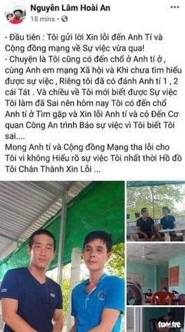 Một dòng chia sẻ trên Facebook của anh Hoài An - người đánh anh Tí - Ảnh chụp màn hình