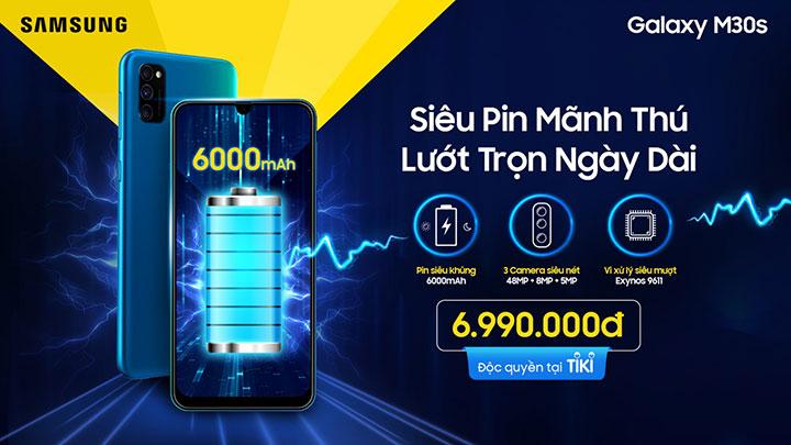 Galaxy M30s giá 6,9 triệu đồng tại VN: pin 6.000 mAh, camera 48MP, chip Exynos 9611 từ Galaxy A50s