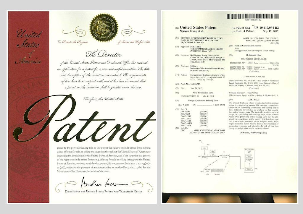 Hệ thống tính cước thời gian thực của Viettel được cấp bằng bảo hộ độc quyền tại Mỹ