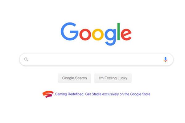 Dịch vụ chơi game Stadia được đặc cách quảng cáo trên trang chủ Google Search