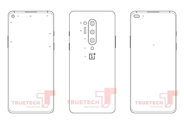 Lộ bản vẽ thiết kế OnePlus 8 Pro với 4 camera sau, màn hình nốt ruồi giống S10