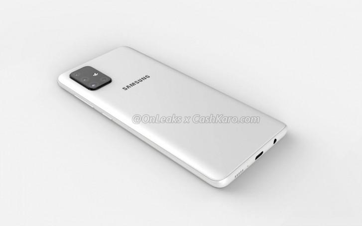 Xuất hiện hình ảnh render Samsung Galaxy A71: Cụm 4 camera hình chữ L, màn hình AMOLED Infinity-O