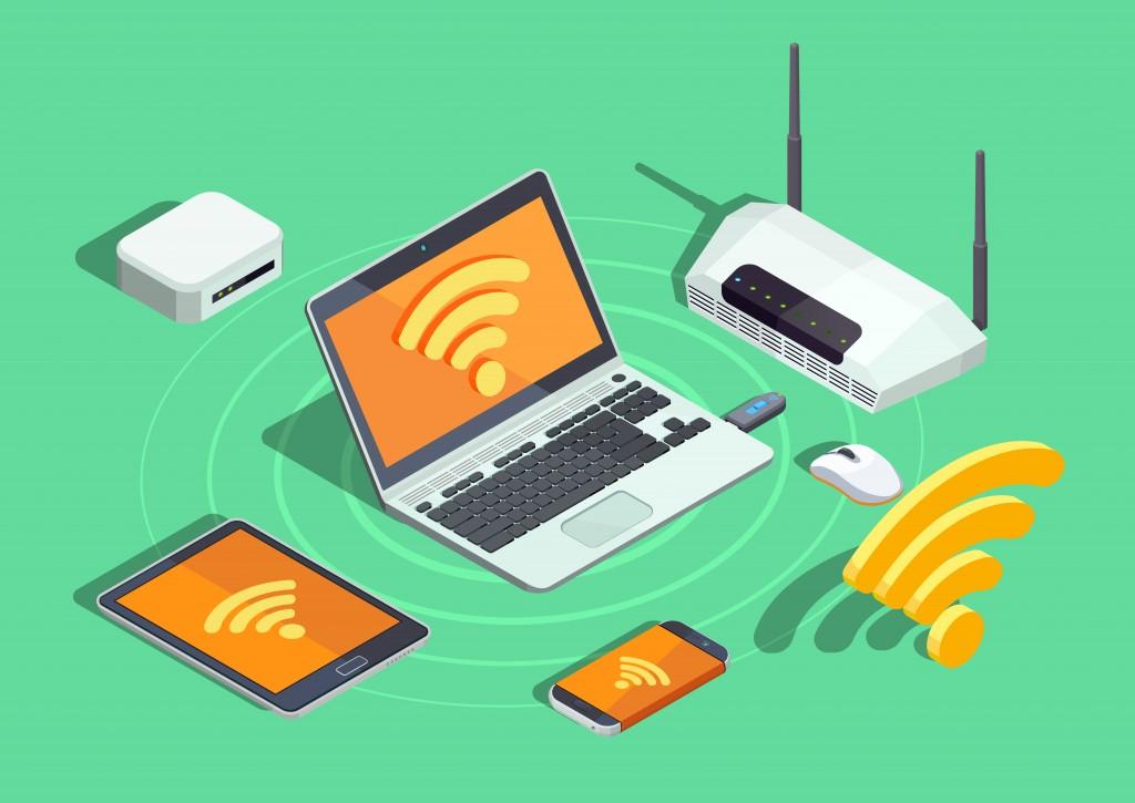 Bộ định tuyến cho phép nhiều thiết bị truy cập Internet cùng lúc (Photo Credit: Macrovector/ Shutterstock)