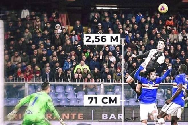 Bật cao 2,56m đánh đầu ghi bàn, C. Ronaldo được gọi là 'siêu nhân'