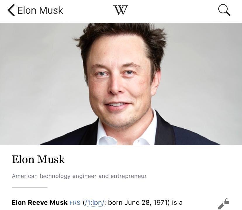 """Elon Musk yêu cầu sửa thông tin cá nhân trên Wikipedia, phủ nhận mình là """"nhà đầu tư"""""""