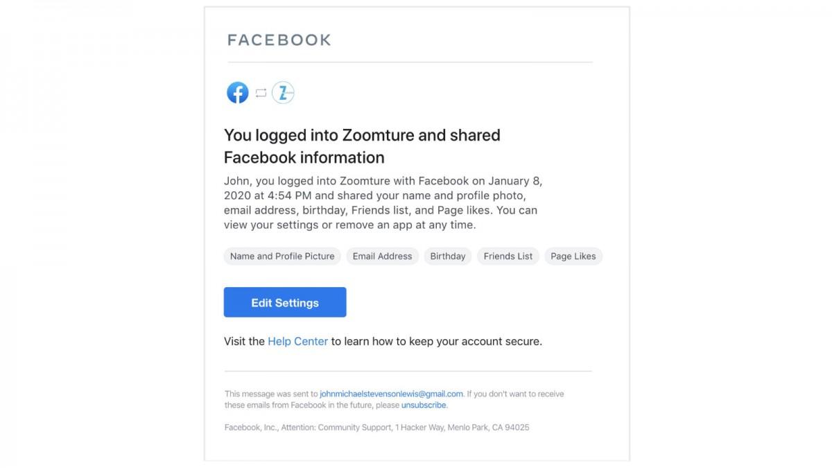 Facebook đã có thể cho bạn biết khi nào tài khoản của bạn được sử dụng để đăng nhập vào bên thứ ba