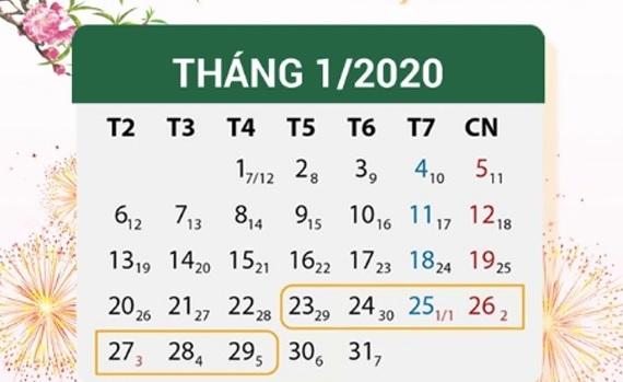 Lịch nghỉ Tết nhà nước 2020