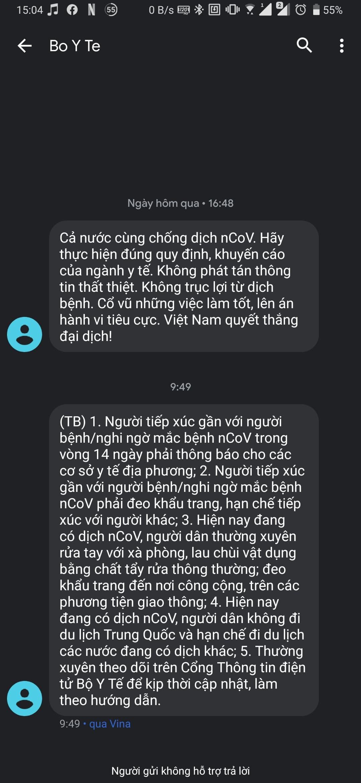 Bộ Y Tế liên tục gửi tin nhắn cảnh báo về dịch virus Corona, khẳng định Việt Nam quyết thắng đại dịch