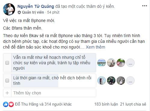 Chủ tịch Bkav Nguyễn Tử Quảng thăm dò về ra mắt Bphone 4