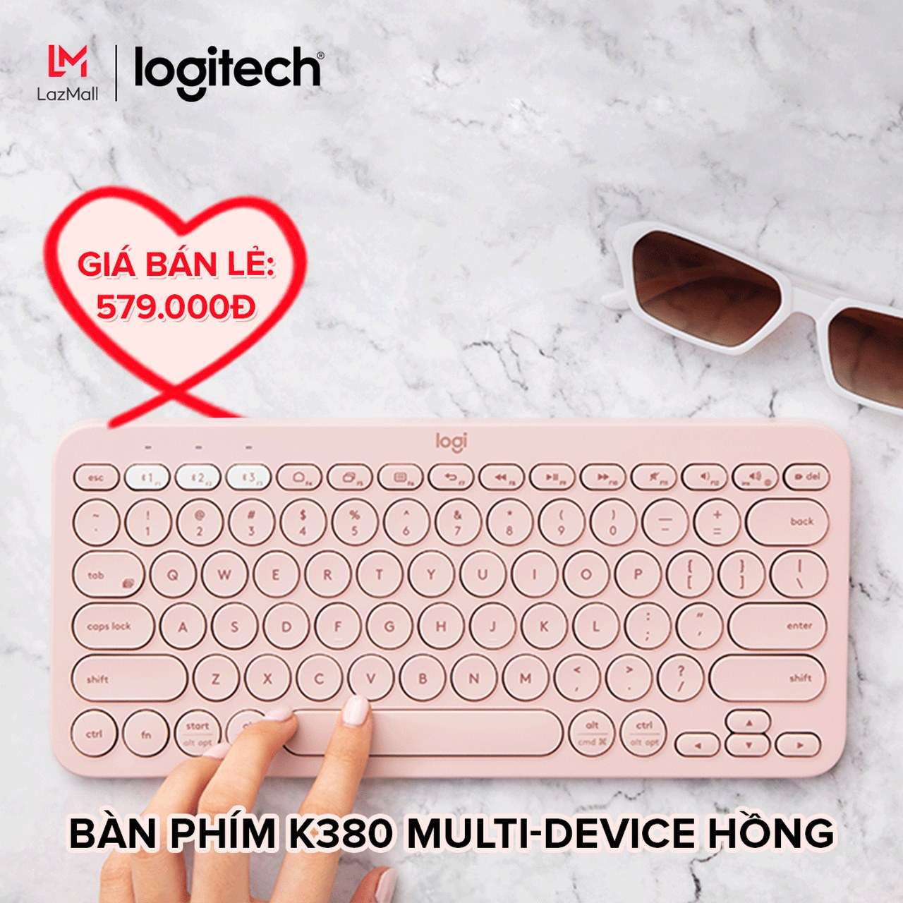 Logitech ra mắt phiên bản Valentine cho bàn phím Bluetooth