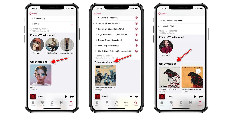 Apple Music gộp các phiên bản khác nhau của cùng một album để người dùng dễ theo dõi