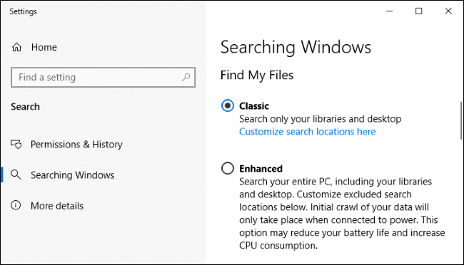 Có gì mới trong bản cập nhật Windows 10 20H1, ra mắt vào mùa xuân năm 2020? (phần 1) | Bản cập nhật Windows 10 tháng 5/2019 đã thực sự nâng cấp toàn diện công cụ tìm kiếm trên menu Start. Microsoft đã tận dụng tính năng lập chỉ mục của công cụ tìm kiếm cũ, vốn hoạt động dưới nền và quét các tập tin trên máy tính của bạn để xây dựng cơ sở dữ liệu tìm kiêm.  Microsoft đã đặt câu hỏi vì sao những người dùng đăng ký chương trình thử nghiệm Windows Insiders tại sao lại tắt tính năng lập chỉ mục tìm kiếm đi, và đã nhận được ba câu trả lời chính, gồm: công cụ này sử dụng quá nhiều tài nguyên ổ cứng và CPU, các vấn đề chung liên quan đến hiệu năng, và giá trị mà trình tạo chỉ mục đem lại thấp. Microsoft cho biết giờ đây công cụ này có thể phát hiện những thời điểm người dùng cần nhiều tài nguyên hệ thống để tối ưu hoá, chọn ra những thời điểm thích hợp để công cụ lập chỉ mục hoạt động. Ví dụ, tính năng này sẽ không hoạt động khi máy đang ở chế độ chơi game hay tiết kiệm pin, khi CPU được sử dụng trên mức 80%, ổ đĩa cứng sử dụng trên mức 70% và pin dưới 50%.  Công cụ tìm kiếm Windows cũng sẽ hoạt động nhanh hơn đối với người dùng là lập trình viên. Công cụ lập chỉ mục tìm kiếm sẽ tự động bỏ qua các thư mục chứa tập tin lập trình phổ biến, chẳng hạn như các thư mục .git, .hg, .svn, .Nuget, và một số thư mục khác. Nhờ đó, hiệu năng hoạt động của máy tính khi biên dịch và đồng bộ hoá mã nguồn sẽ nhanh hơn.