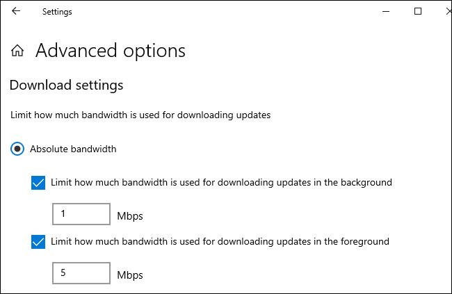 Có gì mới trong bản cập nhật Windows 10 20H1, ra mắt vào mùa xuân năm 2020? (phần 1) | Ứng dụng Settings sẽ cho phép người dùng thiết lập và kiểm soát lượng băng thông Internet mà hệ thống sử dụng để tải về các bản cập nhật Windows. Trong các phiên bản Windows hiện tại, bạn có thể thiết lập giới hạn băng thông bằng tỉ lệ phần trăm tổng băng thông Internet hiện có của máy tính. Phiên bản Windows 10 20H1 sẽ cho phép người dùng thiết lập giới hạn băng thông tuyệt đối bằng đơn vị Mbps để có độ chính xác cao hơn. Thực tế là tính năng này trước đó đã có trong phần cài đặt Group Policy rồi, song nay nó được đưa vào ứng dụng Settings để mọi người dùng đều có thể thiết lập được một cách dễ dàng.  Để thay đổi các tuỳ chọn giới hạn băng thông cập nhật trên Windows 10 20H1, mở ứng dụng Settings > Update & Security > Delivery Optimization > Advanced options.