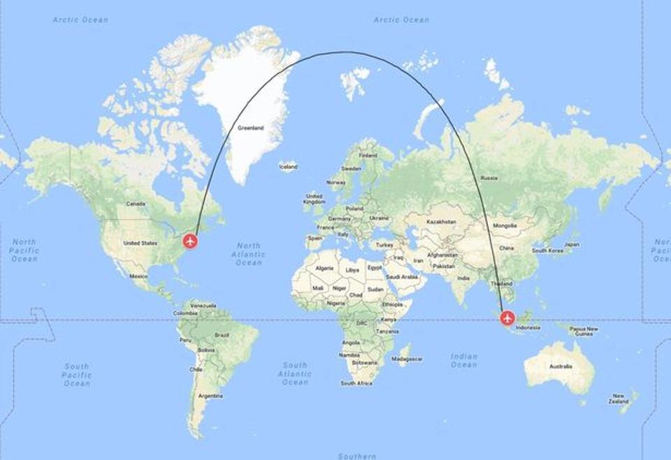Vì sao đường bay của máy bay trên bản đồ lại không phải là một đường thẳng?