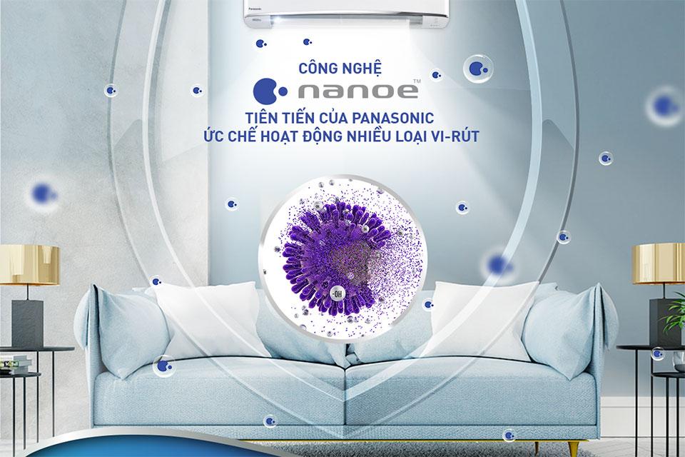 Công nghệ lọc khí Panasonic nanoe™ ức chế hoạt động của nhiều loại vi khuẩn, virus