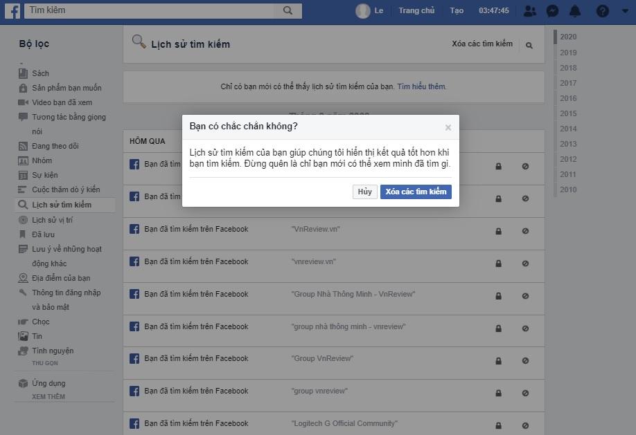 Cách xóa lịch sử tìm kiếm Facebook trên máy tính hoặc thiết bị di động