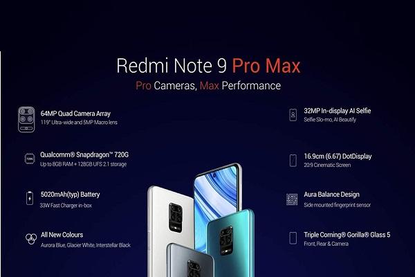 Redmi Note 9 Pro Max chính thức: màn 6.67 inch, Snapdragon 720G, 4 camera, giá chỉ từ 5 triệu đồng