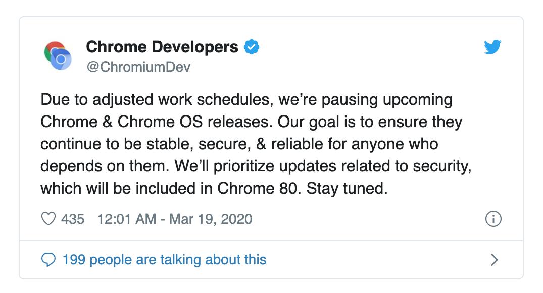 Google tạm hoãn lịch ra mắt phiên bản Chrome và Chrome OS mới vì nhân viên ở nhà tránh dịch hết