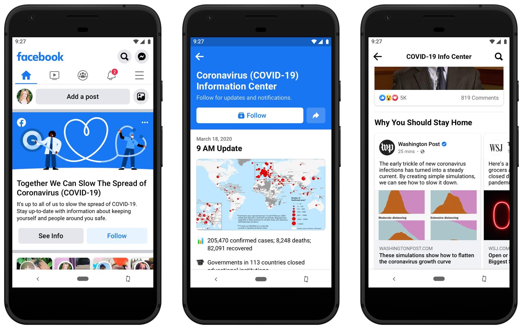 """Facebook sẽ đặt """"hộp thông tin"""" về đại dịch Covid-19 lên đầu News Feed của mọi người dùng"""