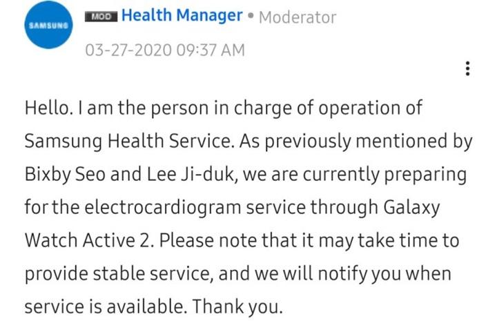 Samsung trì hoãn cập nhật tính năng điện tâm đồ cho Galaxy Watch Active 2
