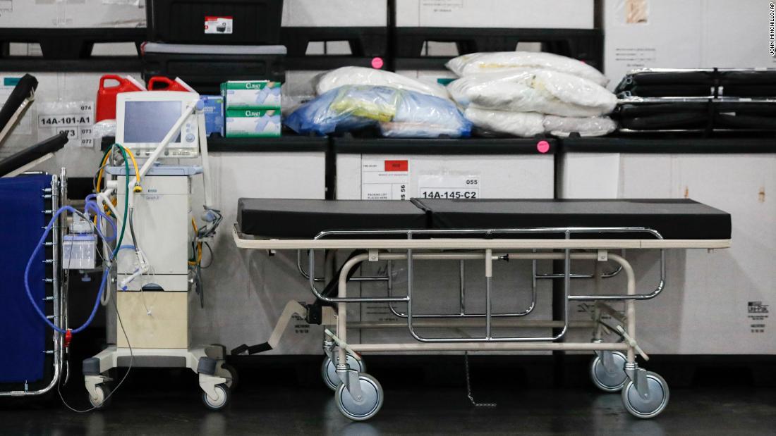 Vật tư y tế được chuyển đến Trung tâm Jacob Javits trước cuộc họp báo của Thống đốc New York (Ảnh: CNN)