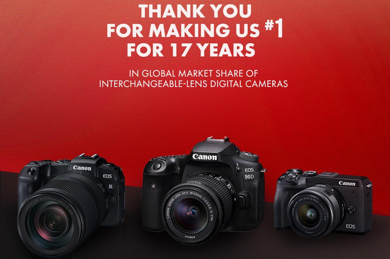 Canon tuyên bố 17 năm liên tiếp dẫn đầu thị trường máy ảnh kĩ thuật số dùng ống kính rời trên toàn cầu