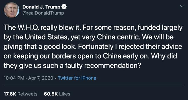 """Ông Trump lên Twitter chỉ trích WHO """"ăn tiền Mỹ nhưng hướng về Trung Quốc"""""""