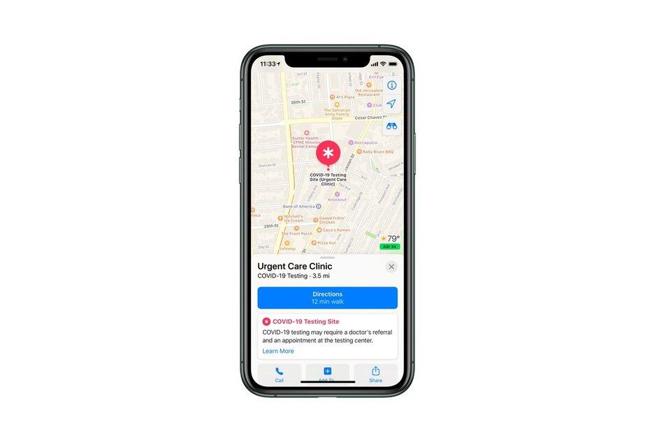 Apple bắt đầu cho đăng ký những địa điểm xét nghiệm COVID-19, sẽ hiển thị trên Apple Maps