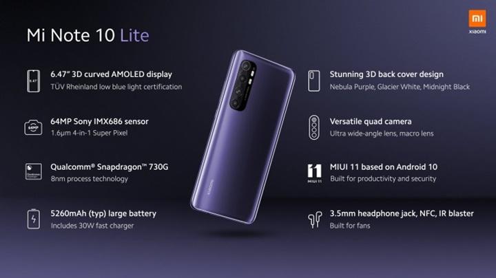 Xiaomi Mi Note 10 Lite chính thức ra mắt