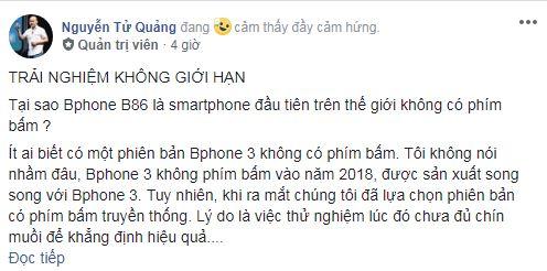 CEO Nguyễn Tử Quảng lên tiếng về nút reset trên Bphone B86 và nghệ thuật marketing