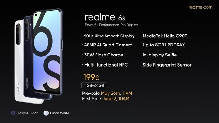 Realme 6s trình làng với camera chính 48MP, màn hình 90Hz, chipset Helio G90T
