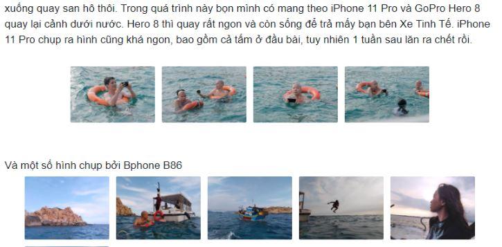 Sau lặn biển Ninh Thuận, iPhone 11 Pro 1 tuần lăn ra 'chết', Bphone B86 vẫn sống tốt