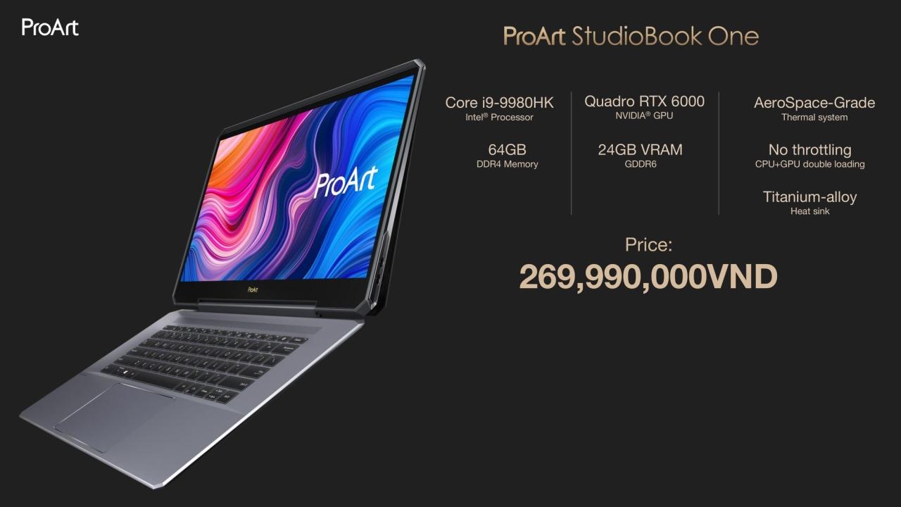 Asus tung loạt laptop ProArt StudioBook cho dân sáng tạo chuyên nghiệp tại Việt Nam: giá tối đa gần 270 triệu đồng