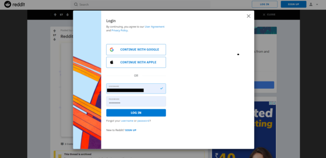 Reddit thử nghiệm tính năng đăng nhập tài khoản thông qua Google và Apple