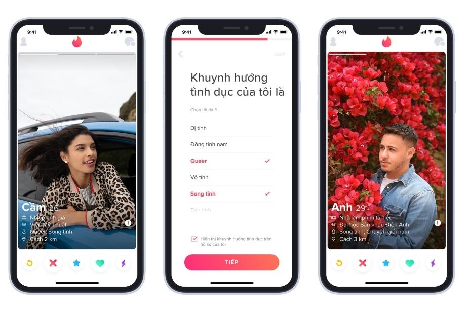 Tinder đa dạng hóa các tính năng về giới tính và khuynh hướng tình dục tại Việt Nam