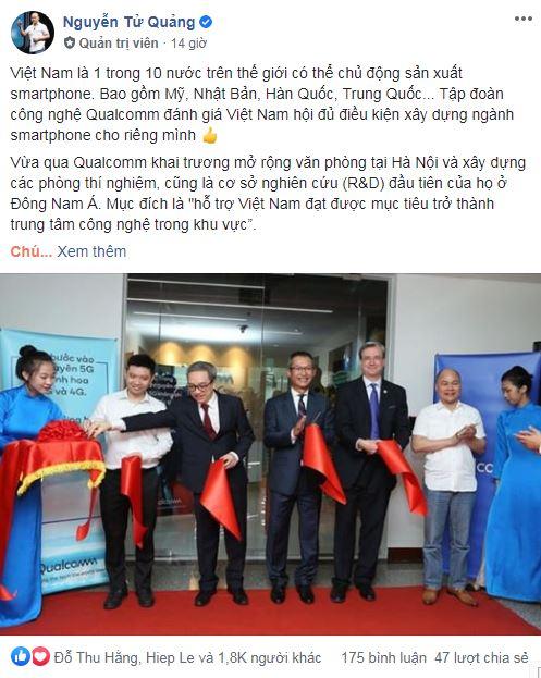 CEO Nguyễn Tử Quảng tự hào