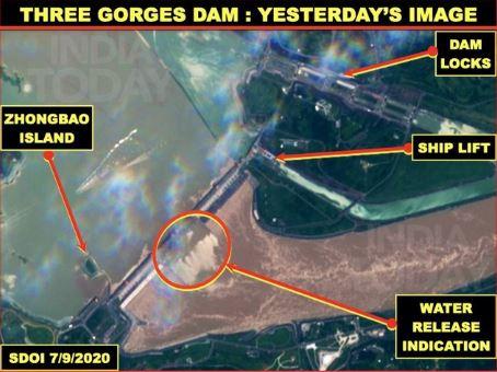 Ảnh vệ tinh chụp đập Tam Hiệp ngày 9/7 (Ảnh: India Today)