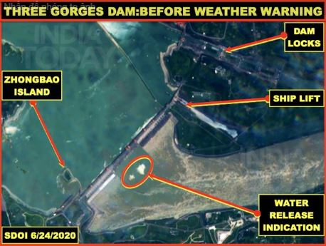 Theo ông Vinayak, ảnh vệ tinh dường như cho thấy đập Tam Hiệp đã mở cửa xả lũ vào ngày 24/6 (Ảnh: India Today)
