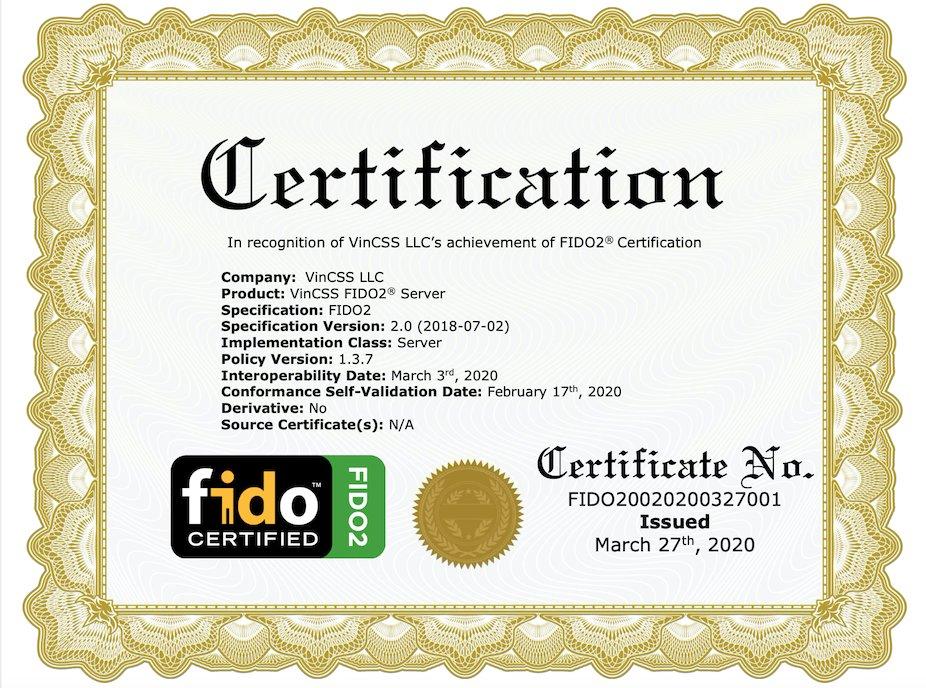 Vingroup đạt chuẩn FIDO2 thứ hai cho sản phẩm máy chủ xác thực