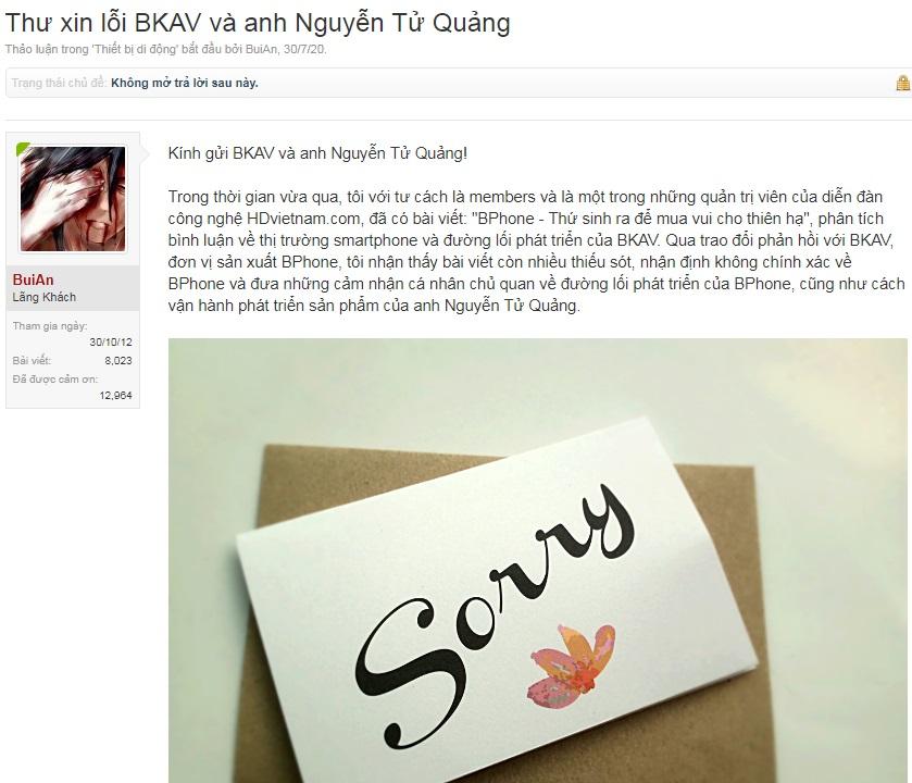 """""""KOL"""" xin lỗi Công ty Bkav và CEO Nguyễn Tử Quảng sau khi bị cơ quan chức năng mời lên làm việc"""