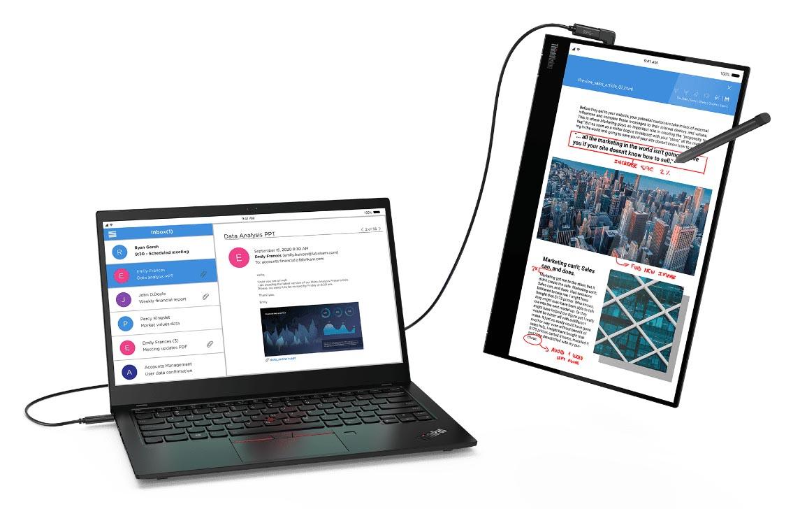 Lenovo ra mắt màn hình di dộng ThinkVision M14t: thêm cảm ứng đa điểm, hỗ trợ bút, giá trên 10 triệu đồng