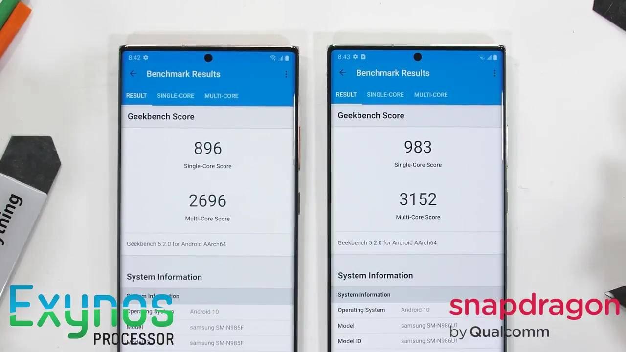 Vẫn có sự chênh lệch lớn về hiệu năng giữa chip Exynos và Snapdragon trên Galaxy Note 20 Ultra