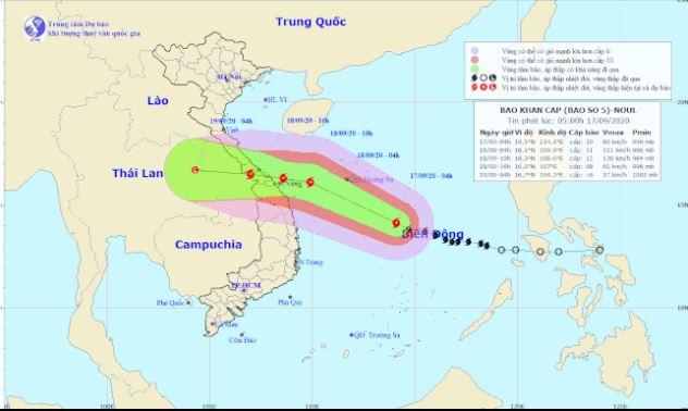 Bão số 5 Noul mới nhất: dự báo giật cấp 13, đi vào đất liền Quảng Bình, Quảng Nam