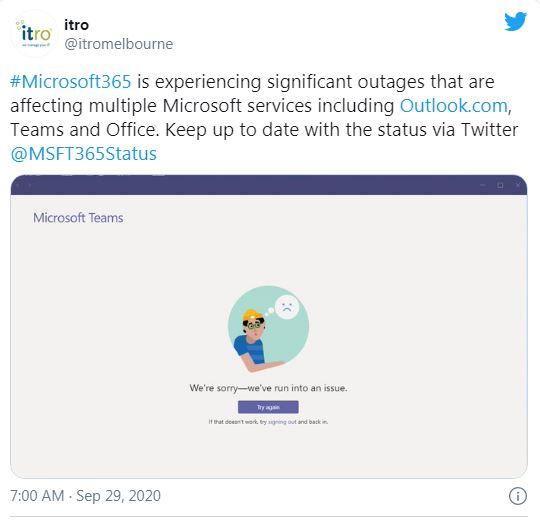 Các dịch vụ đám mây Microsoft Office 365, Outlook và Teams đồng loạt ngừng hoạt động