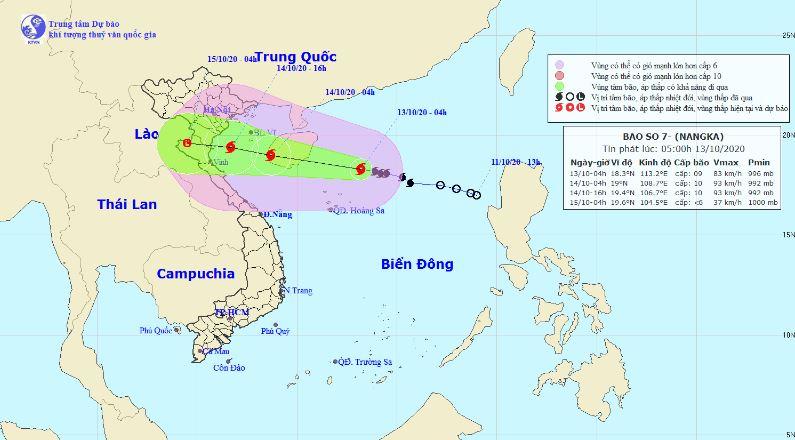 Tin bão số 7 Nangka: Gió giật cấp 11, Bắc Bộ và Bắc Trung Bộ mưa to