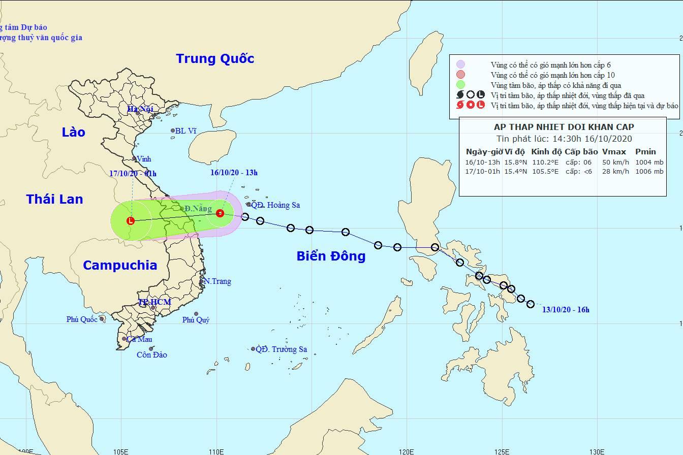 Tin áp thấp nhiệt đới khẩn cấp: Gió giật cấp 8, chuẩn bị đổ bộ vào miền Trung