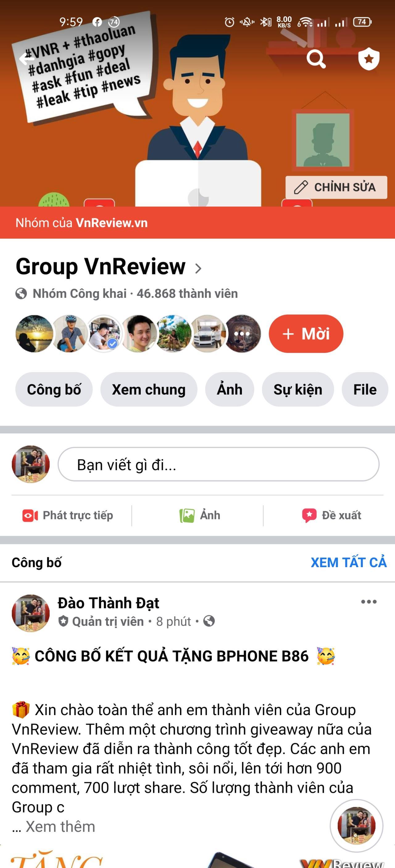 Mừng sinh nhật 2 tuổi Group VnReview - Tặng Bphone B86 cho thành viên may mắn
