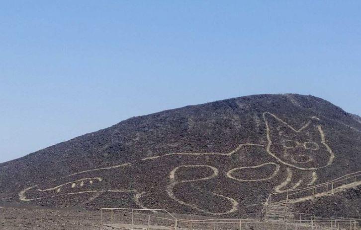 Phát hiện con mèo khổng lồ 2.000 năm tuổi được khắc trên sườn đồi Peru