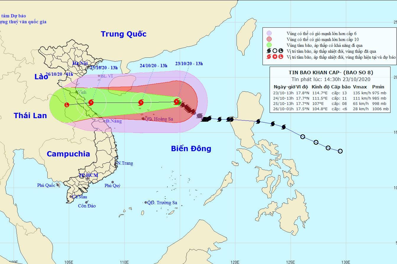Tin bão số 8 mới nhất: Gió giật cấp 15, đổ bộ vào Hà Tĩnh - Quảng Trị trong 2 ngày tới